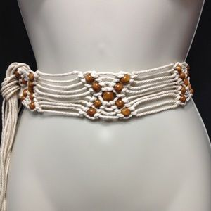 Macrame tie on belt/wrap